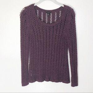 Ann Taylor sweater purple open weave scoop neck